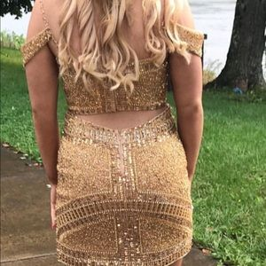Sherri Hill Gold Homecoming dress